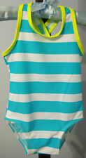 New OLD NAVY Size 12-18 Months Aqua Striped One-Piece UPF 50 Swimsuit