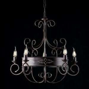 Suspended Lights Wrought Iron Classic Vintage Black Rusted