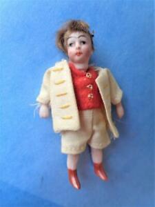 "2.5"" Antique German Miniature Bisque Dollhouse Doll Dressed BOY Torso Damage"