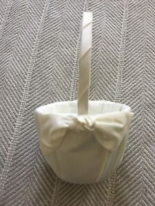 Ivory/Cream Colored Flower Girl Basket Satin/Shiny Fabric with Bows
