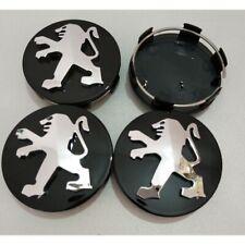 4X 60mm Black Car Refitting Wheel Center Hub Caps Rim Emblems Badge For Peugeot