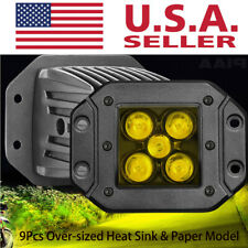 "2x 160W Flush Mount Amber LED Pods Spot Work Light Bar 3000K Offroad Driving 4"""