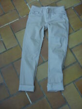 pantalon slim Cache-Cache 34 beige coton polyester élasthanne état neuf