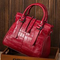 Women's 100% Genuine Leather Crocodile Handbags Evening Party Bag Satchel Tote