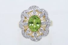 NEW 14k Yellow Gold 2.50ct Oval Peridot & .32ctw Round Diamond Ring Size 7