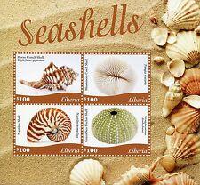Liberia 2015 MNH Seashells 4v M/S Sea Shell Conch Shells Sea Urchin Nautilus