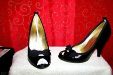 "MARC BY MARC JACOBS SZ 5.5/36.5 BLACK PATENT LEATHER BOW VAMP PEEP TOE 4"" PUMPS"