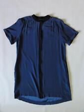 FRAME DENIM FLUTTER SILK DRESS, Navy, Size L, MSRP $349