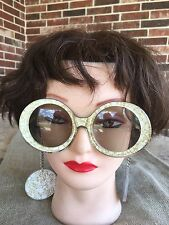1960's Goldfinger Bond Girl Vintage Mod  Sunglasses with Earrings on Chain GOLD