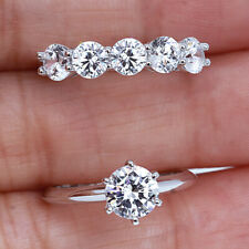 2.65Ct 14K White Gold Plated Silver Simulated Diamond Engagement Ring R9-6-15