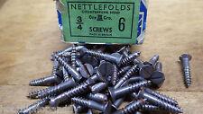 50 X NETTLEFOLDS 1.9cm x 6 Stahl Senkkopf Schlitz Holz Schrauben NOS Schraube