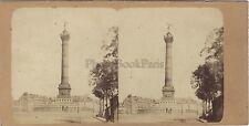 Colonne de Juillet Bastille Paris Stéréo Vintage Albumine ca 1860