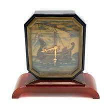 IMHOF for Cartier Art Deco Clock Hand Painted with Carnelian Base & Onyx Frame