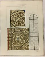 Gravure d' Architecture Cathédrale de Troyes, Chapelle Vitrail grisaille