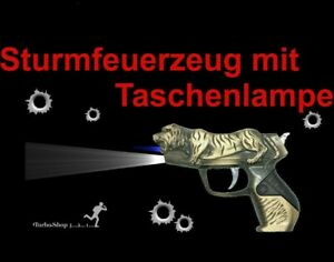 Sturmfeuerzeug Pistole Metall Feuerzeug mit Taschenlampe Gas Sammler Geschenk
