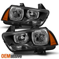 2011 2013 2014 Dodge Charger Halogen Type Black Headlights Replacement Pair Set