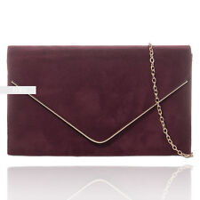 Burgundy Plain Suede Wedding Ladies Party Evening Clutch Hand Bag Purse HandBag