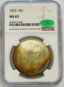 1923 US PEACE SILVER DOLLAR $1 MASTERPIECE COLLECTION NGC MS 65 CAC