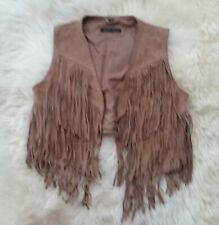 Small tan suede real leather RUDSAK collection western vest with fringe, lined