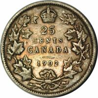 1902-H Canada Quarter 25 Cents KM 11 -Very Nice Circ Collector Coin! -d432uhxc