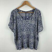 Sussan Womens Top Kaftan Size XS Extra Small Blue Boho Short Sleeve