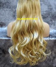 GOLDEN BLONDE MIX FLIP IN SECRET CLEAR WIRE HAIR PIECE EXTENSIONS NO CLIP IN/ON