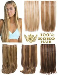 KOKO Hair 180g Streak Highlighted One Piece/Weft Straight Clip-in Extensions