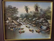 Acrylic on Canvas Oriental River Boat Scene Signed