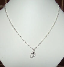 "Small Ohm Aum Om Pendant Silver Plated 18"" Chain Necklace in Gift Bag"