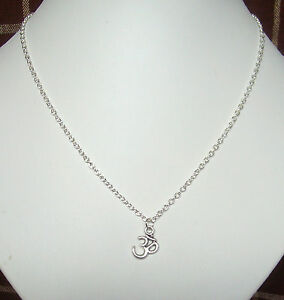 """Small Ohm Aum Om Pendant Silver Plated 18"""" Chain Necklace in Gift Bag"""