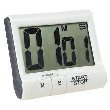 Weiß Kurzzeitmesser magnetisch Digital LCD Stoppuhr-Eieruhr Küchenwecker