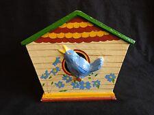 Birdhouse Tissue Box Cover Blue Bird Paper Mache 1996 Clay Art 5123
