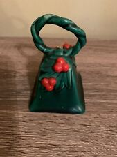 Vintage Lefton Japan Christmas Holly Berries Ceramic Bell Green Collectible