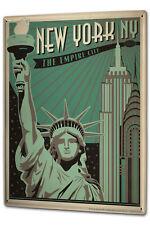 Cartello Targa Metallo XXL Voglia New York City Grattacieli Statua Libertà