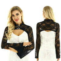 Women Ladies See Through Lace Long Flared Sleeves Bolero Shrug Crop Cardigan Top