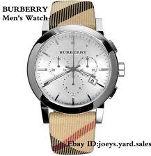 BOX SET Burberry Men's Swiss Leather Strap Nova Check Chronograph Watch BU9357