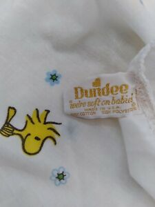 Vintage 1966 Dundee Fitted Crib Sheet Woodchuck Peanuts Charlie Brown Baby Bed