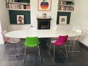 White Dining Table Inc. 6 Calligaris Jam Chairs