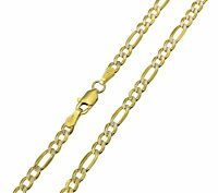 """14K Real Yellow Gold 3.1mm Figaro 3+1 White Pave Hollow Chain Necklace 20""""Inches"""