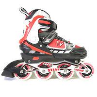 Weing Inline Skate verstellbare Kinder Inliner Skate rot Gr. 38-41 Abec 7 - LED