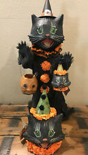 Bethany Lowe Halloween Scaredy Cat Ghoul & 2 Sassy Cat Lanterns-w/Lights Incl.