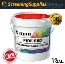 Xenon Fire Red Plastisol Ink For Silk Screen Printing 1 Gallon 128oz