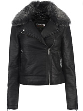 Firetrap Fur Trim Biker Jacket Leather Black Ladies Size UK 10 (S) *REF105