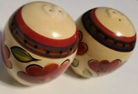 Shakers SALT & PEPPER shakers WITH FLORAL PAINTING/PRISTINE Condition