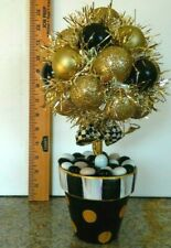 Christmas Arrangement in ceramic urn hand painted , with Mackenzie Childs Bow!