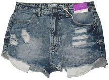 Mossimo Junior's Denim Short Shorts DESTRUCTED FRAYED Hem HIGH WAIST SIZE 9 NEW
