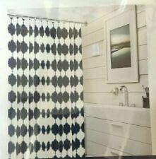 Olivia Nautical Navy Blue White 100% Cotton Shower Curtain Quatrefoil Geo Nwop