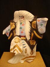 """13"""" H JAPANESE SHOWA PERIOD CERAMIC KABUKI DOLL WITH ORIGINAL STAND"""