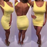 Connie's Backless with Ruched Sides Yellow Mini Dress M