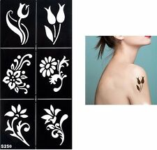 6 Flowers Festival Temporary Tattoo Henna Arm Hand Stencils Temporary Template